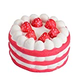 Jumbo Squishies Slow Rising, Y56 Soft Cute Mini Strawberry Cake Cream Scented Slow Rising Jumbo Squishy Toys Stress Relief Toys Gifts for Kids Adults Birthday Party Favors (Red)