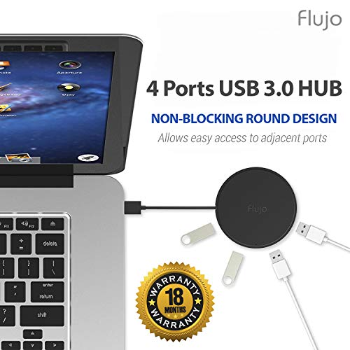 Flujo 4 Port Ultra Slim Portable USB 3.0 HUB with Foldable Cable for MacBook, Ultrabook and Laptop