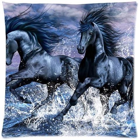 Popular Negro Caballo corriendo en el agua Arte Funda de almohada fundas de almohada 18x 18pulgadas), sofá almohada con cremallera manta funda de almohada (doble