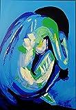 FineDecoArt Kollektion 'Blaue Verführung' Gemälde Leinwandbild Acrylbild gemalt 70x100 Frau Akt sitzend Erotik sexy Unikat Acryl modern abstrakt blau weiß XXL Hochformat mit Keilrahmen