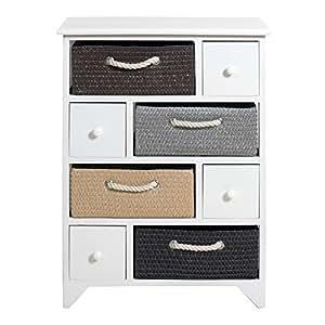 Rebecca srl meuble de rangemente commode 8 tiroir bois for Deco meuble srl