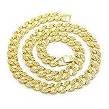 Epinki Hip-Hop Halskette Panzerkette Königskette Rock Herrenkette 76CM Gold mit Weiß Zirkonia
