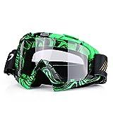 Qiilu Dirt Bike Occhiali da Sole di Protezione Maschera Occhialoni per Attività Esterna Motocicletta (Green,White)