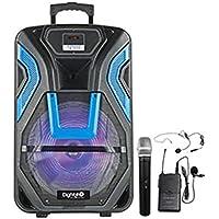 MovilCom® Altavoz trolley 120W Digivolt HiFi 45 multimedia radio bluetooth 2 micrófonos Karaoke (azul)