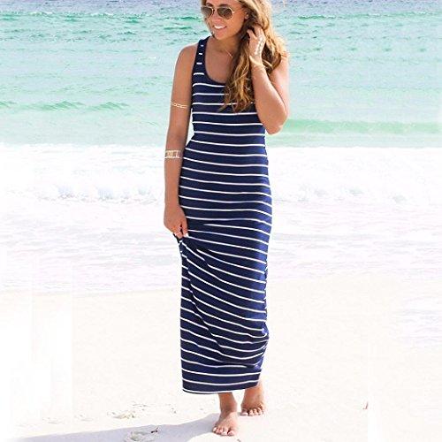 Femme Robe, Tonsee Boho d'été sans manches rayé lâche Long Beach Party Sundress Bleu