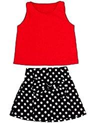 Trajes de tops y Pantalón Koly - Body para Niña, camiseta y pantalones, Sin mangas, color rojo (130)