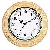 @Reloj de Pared Relojes de Pared Funciona con batería Sin Hacer tictac Decorativo Sala de Estar Decoración Dormitorio Cocina Sencillo Reloj de Cuarzo rústico Madera Maciza Reloj de Pared analógico