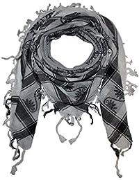 Superfreak® Palituch mit Indianer-Muster°PLO Schal°100x100 cm°Pali Palästinenser Arafat Tuch°100% Baumwolle, Farbe: weiss/schwarz