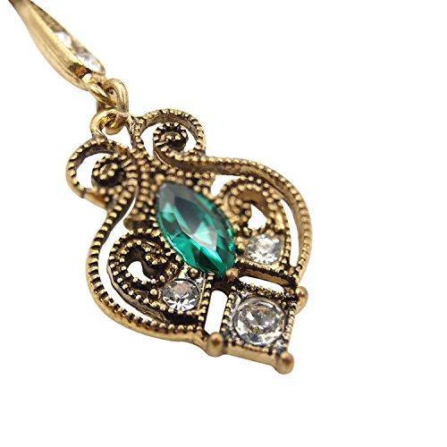 LARESDOMI Vintage Ohrringe goldfarben Kristall Verkrustet Simulierte Grün Turmalin Classic Georgian Drop Ohrringe - 4