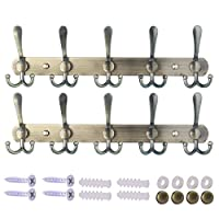 Dseap Wall Mounted Coat Rack - 5 Tri Hooks, Heavy Duty, Stainless Steel, Metal Coat Hook Rail