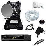 Bundle by netshop 25 Camping Sat Koffer 40cm Spiegel + HD Receiver 12V & 230V + Single LNB + 10m Kabel
