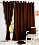 Story@Home Room Darkening Blackout Plain Faux Silk Premium Solid 2 Piece Window Curtain, 5ft, Brown