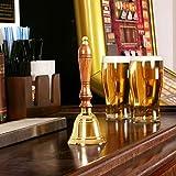 Small Wooden Handle Brass Bell by bar@drinkstuff | Dinner Bell, Reception Bell, Last Orders Bell, Library Bell - Traditional Hand Bell Design