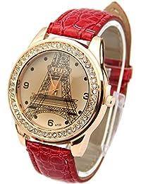 Estone – para mujer Fashion Torre Eiffel Cristal de cuarzo rhinestone Piel Sintética De Control Remoto Rojo rojo