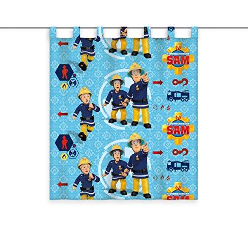 feuerwehr gardine Herding Vorhang Feuerwehrmann Sam, Polyester, Mehrfarbig, 160 x 140 cm