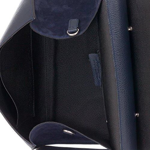 Laura Moretti - Glatte und metallische Handtasche aus Leder Blau