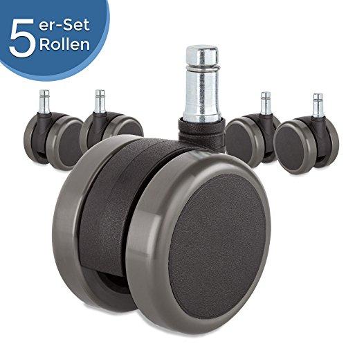 Hartbodenrollen (10mm Ø Stift, 60mm Ø Rolle) – 5er-Set leiser Ersatzrollen für harte Böden