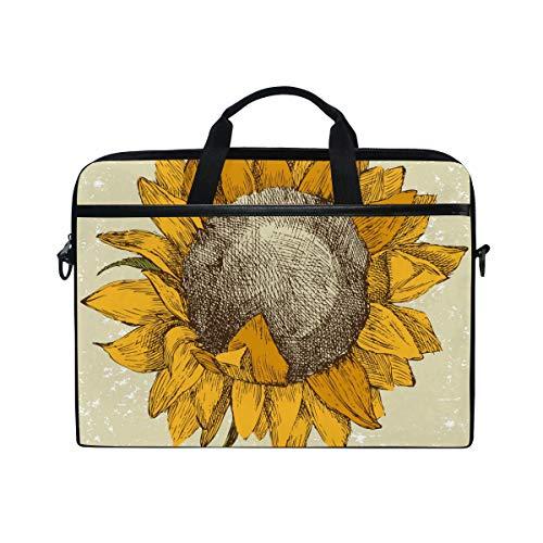 Ahomy Laptoptasche, 35,6 cm (14 Zoll), Sonnenblumenmotiv, Segeltuch, Laptoptasche, Handtasche mit Schultergurt für Damen und Herren