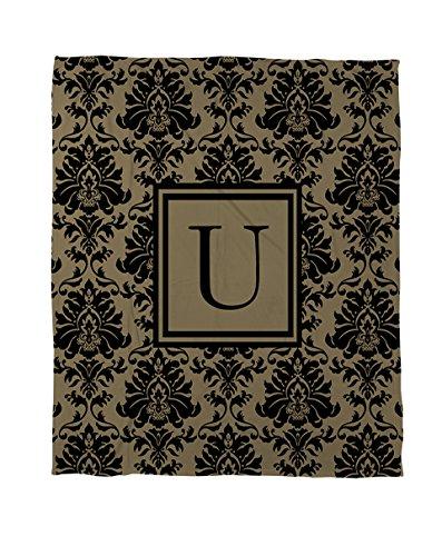 U-zeitgenössische-bett (Manuelle holzverarbeiter & Weavers Coral Fleece Werfen, 50von 152,4cm, Monogramm Buchstabe U, schwarz und gold Damast)