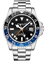 Stuhrling Original Mens Stainless Steel Triple Row Bracelet GMT Watch - Swiss Quartz, Dual Time, Quickset Date with Screw Down Crown, Water Resistant up to 10 ATM (Black/Blue)