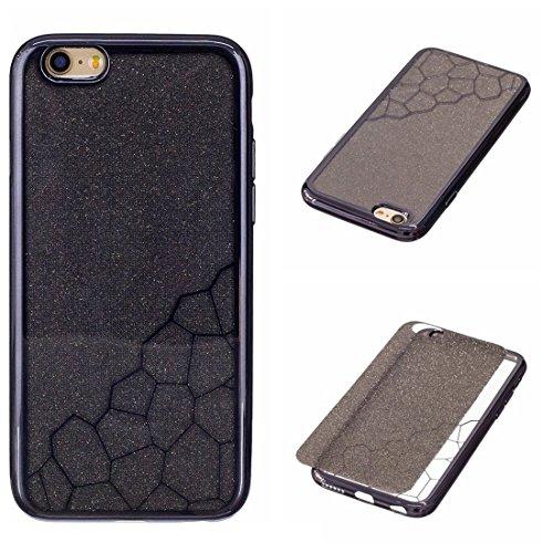 Wkae Galvanische kleine Würfel TPU schützende rückseitige Abdeckungs-Fall für iPhone 6 u. 6s ( Color : Gold ) Black