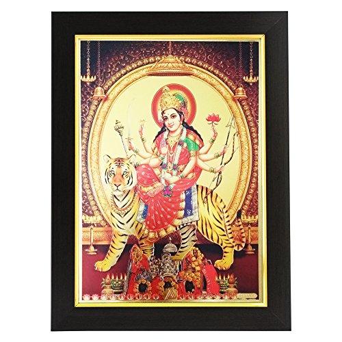 Gold Plated Photo Frame of Goddess Ambe MATA with Vaishno Devi/Shree Ganesh Enterprise Gifting Solutions / 26x1x35 cm