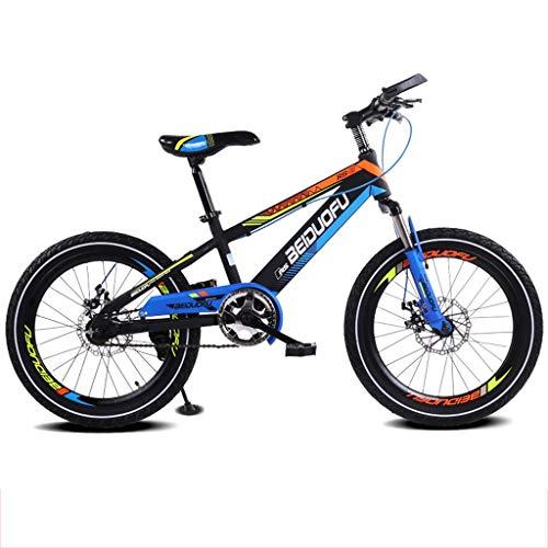 Kinderfahrrad 16/18/20 Zoll Mountainbike Scheibenbremse Dämpfung Single Speed Kids Bikes (Farbe : Blue(A), größe : 20 inches)