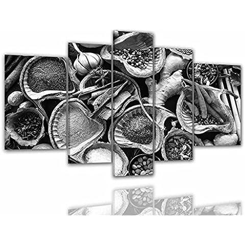 IMMAGINI-MANUFAKTUR, QUADRO SU TELA, STAMPA ARTISTICA, QUADRO SU TELA, IMMAGINE, IMMAGINI, 8127, XXL ERBE SPEZIE AGLIO PAPRIKA NOCE MOSCATA BASILICO, PEPE SALE ERBE AROMATICHE SPEZIE DI CUCINA - Colore 4, 200 cm x 100 cm