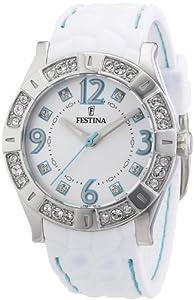 Festina F16541/2 - Reloj analógico de cuarzo para mujer con correa de caucho, color blanco de Festina