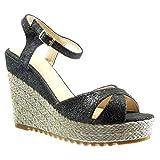 Angkorly - Damen Schuhe Sandalen Espadrilles - Plateauschuhe - Seil Keilabsatz high Heel 11.5 cm - Schwarz BL206 T 39