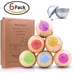 zesgood Pack de 6orgánico hecho a mano bombas de baño con juego de 3Extra DIY Metal Bomba de Baño molde, mejor para aromaterapia y relajación/2.1oz, 60g