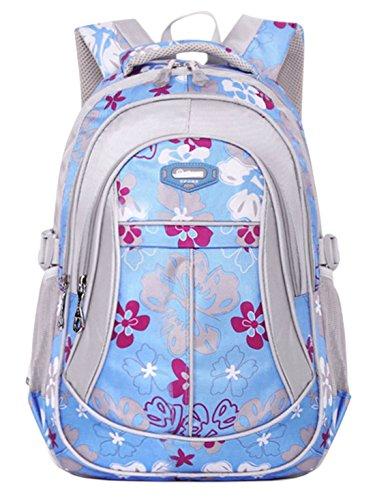 Happy Cherry Schulrucksack Blumen Schulranzen Schultasche Sports Rucksack Freizeitrucksack Daypacks Backpack für Mädchen Jungen Kinder Damen Herren Jugendliche-Pink Blau 1