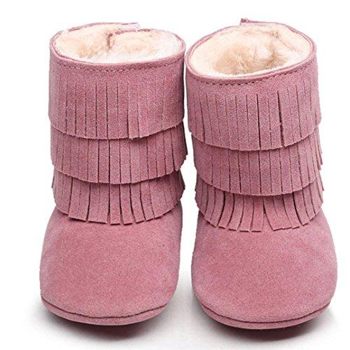 Hunpta Babyschuhe Mädchen Jungen Lauflernschuhe Baby Schneestiefel halten Warm Doppelstock-Quasten weiche Sohle weiche Krippe Schuhe Kleinkind Stiefel (12, Hot Pink) Rosa