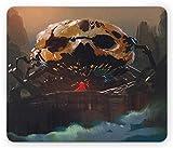 Alfombrilla de ratón Fantasy Wizard Versus Villain de pie en la parte delantera de calavera esqueleto oscuro Supernatural Potencias, tamaño estándar rectangular antideslizante alfombrilla de ratón de goma, multicolor
