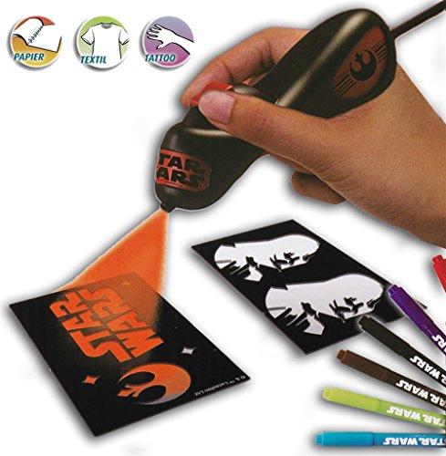 Elektrisches Star Wars Airbrush Set für Kinder mit Kompressor, Airbrush Tattoo Set Schablonen und bunten Farbpatronen thumbnail