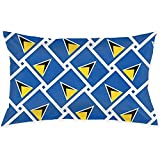 YSamuel Saint Lucia Flag Weave Throw Cojín Cover Throw Pillow Cover Rectangular New Living Series Decorativo Throw Pillow Case (50 X 75 Cm)