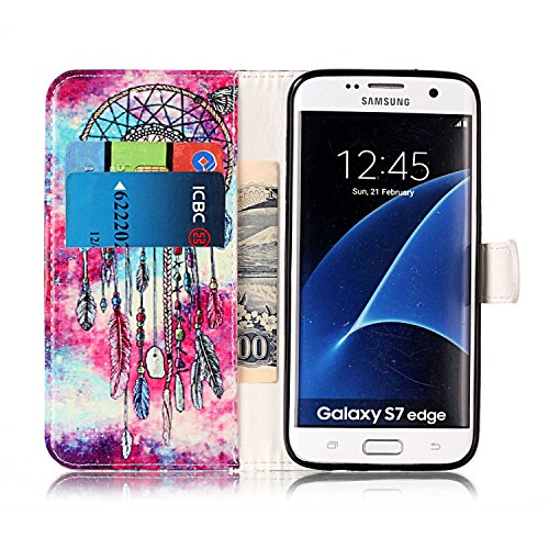 Samsung Galaxy S7 Edge Custoida in Pelle Portafoglio,Samsung Galaxy S7 Edge Cover Pu Wallet,KunyFond Lusso Moda Marmo Dipinto Leather Flip Protective Cover con Bella Modello Cover Custodia per Samsung Butterfly Campanula