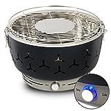 Woltu Barbecue a Carbone Senza Fumo Griglia da Tavolo con Copertura per Barbecue Portabile Campeggio Picnic Cucina Nero CPZ8117sz-a immagine