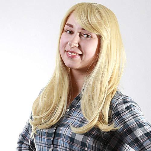 Littlefairy Perücke Lady Mode Synthetische Seide Licht Gold Langen lockigen Haaren Hülse