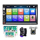 Bluetooth Autoradio 2 Din Camecho 7'' Touch Screen MP5 Player Auto Radio FM IOS Telefono Android Mirror Link con Dual USB AUX Porta SD + Telecamera posteriore