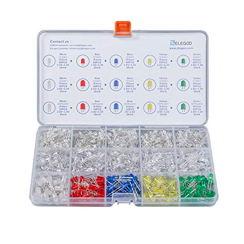 Elegoo 3mm 5mm Diffus und klar Sortiert LED Kit 5 Farben für Arduino (600er Set) Mcd 5mm Led
