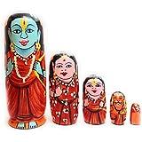 Craft Hand Nesting Wooden Hand Painted Lord Rama Family (Ram & Sita,Laxman,Hanuman) Indian God's Idol With Flag - Set Of 5 Piece