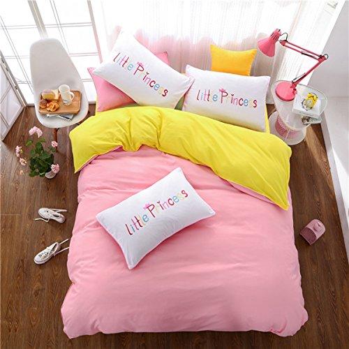 aoeiuv Einfache Doppel-Bettwäsche, Schlafzimmer Paar Einfach Bettwäsche-Set 1x Bettbezug, 1x Bettwäsche, 2x Kissenbezüge, A, 200*230cm (Tröster Set Solide)