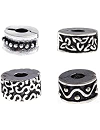 Set of 4 Abstract Design Clip Lock Stopper Charm Beads. Fits All Major Charm Bracelets.