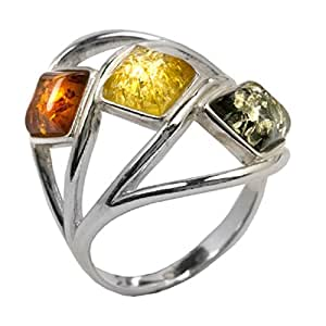 Noda Multicolor Amber Sterling Silver Classic Ring Size J 1/2