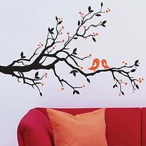 BestOfferBuy - Sticker Mural Avec Des Inséparables Sur Une Branche (Décalcomanie) JM7051