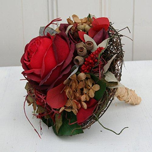FRI-Collection Meisterfloristik Rosenstrauß Biedermeier Strauß mit Einer roten Rose Seidenblume...