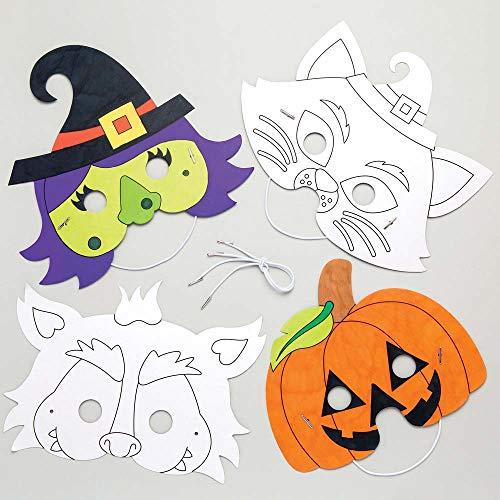 """Baker Ross Masken zum Ausmalen """"Halloween"""" für Kinder – für Bastelarbeiten und Dekorationen zu Halloween (6 Stück)"""