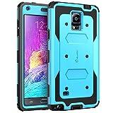 Coque Samsung Galaxy Note 4 - Housse i-Blason Armorbox couverture protectrice de double couche [pour Samsung Galaxy note 4] avec couvercle protecteur d'ecran integre / housse resistante aux chocs (bleu)