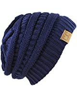 Unisex Trendy Warm Chunky Soft Stretch Cable Knit Slouchy Beanie SkullyHAT20A